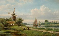 Summery river landscape with fishermen by Lodewijk Johannes Kleijn