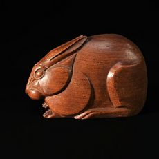Wooden rabbit art deco sculpture by F. Rouxel-Vannen
