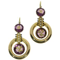 Antique pendent earrings Victorian with enamel engraved amethyst and seed pearls by Unknown