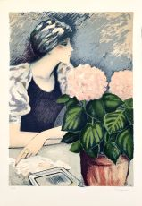 Jeune Femme au Hortensia by Jean Pierre Cassigneul
