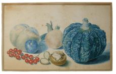 Delicate fruit still life by a member of the Van Huysum family by Michiel van Huysum