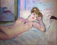 Lying Nude on Divan by Charles Camoin
