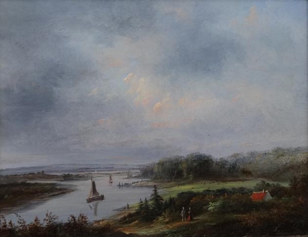 River Landscape by Petrus Josephus Lutgers