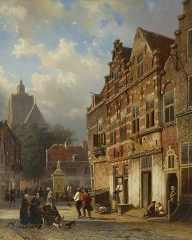 Koopmanstraat and Market in Brielle by Cornelis Springer