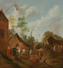 Staging area by a public house by Nicolaes Molenaer