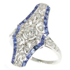 Vintage Art Deco platinum diamond and sapphire engagement ring by Unknown