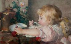 Little girl eating a cup of soup by Emma Ekwall