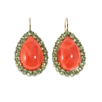 Modern entourage earrings with coral and peridot by Unknown Artist