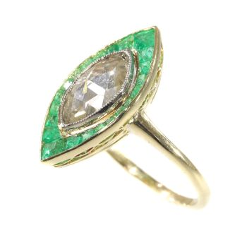 Art Deco Vintage engagement ring large rose cut diamond and emeralds by Unknown Artist