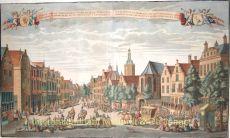 Gesigt van de Groenmarkt, siende naar de Vlees-Hal, Vismarkt, Groote-Kerk en Stadhuys tot 's Gravenhage by Schenk, Leonardus