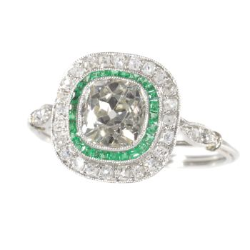 Vintage Art Deco style diamond and emerald engagement ring by Unknown Artist