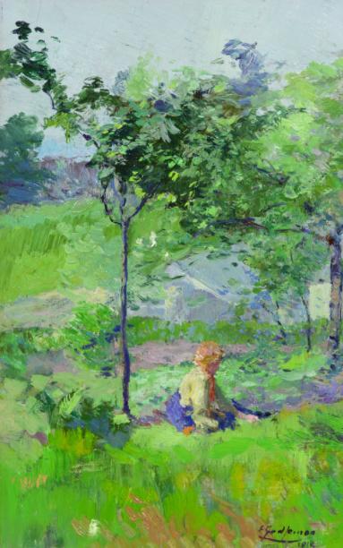 Zittend Meisje (Sitting Girl) by Ernest Jean Joseph Godfrinon