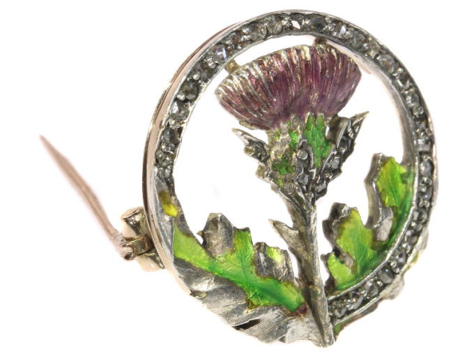 Late Victorian early Art Nouveau enameled thistle brooch with rose cut diamonds by Unknown Artist