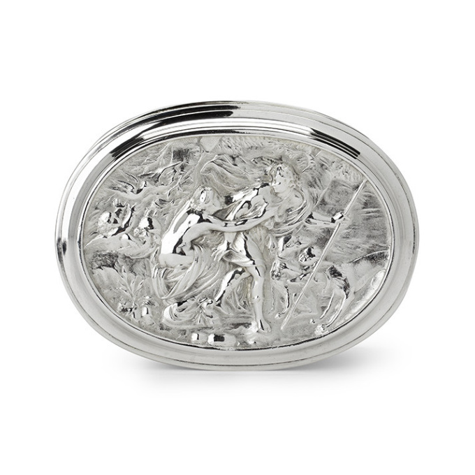 A Dutch silver box embossed with mythological scenery by Willem Roukens