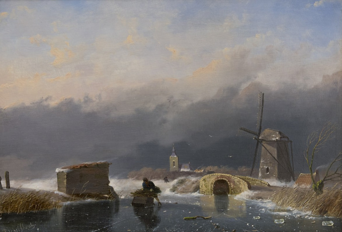 A winter landscape by Andreas Schelfhout