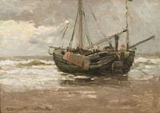 Ship on the beach by Gerhard Arij Ludwig 'Morgenstjerne' Munthe