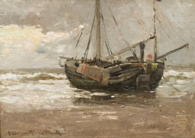 Ship on the beach by Gerhard Arij Ludwig 'Morgenstjerne' Munthe
