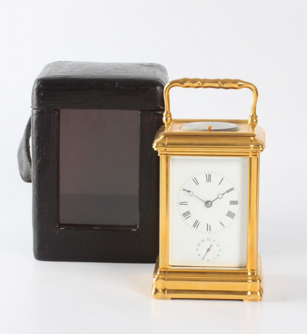 A French gilt gorge case carriage clock with alarm, circa 1860 by Unknown Artist