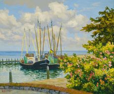 Rose trees by the harbour of Terschelling by Ad Blok van der Velden