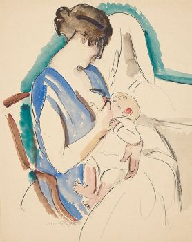 Zogende vrouw in blauwe jurk by Jan Sluijters
