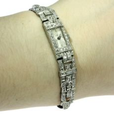 Impressive Art Deco platinum diamond ladies watch loaded with diamonds by Unknown Artist