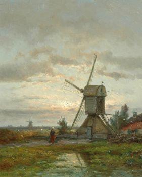 Windmill De Lelie near Kortenhoef by Jan H.B. Koekkoek