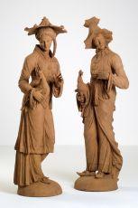Pair of German Terracotta Figural Sculptures Representing Two Malabars