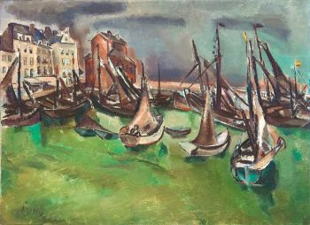 Boats in a harbour by Willem Paerels
