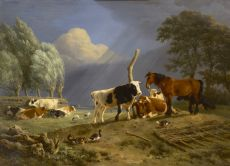 Horse and cattle in a landscape, a storm approaching by Henriëtte Ronner-Knip