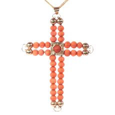 Antique Victorian 18K pink gold cross with blood coral beads by Unknown