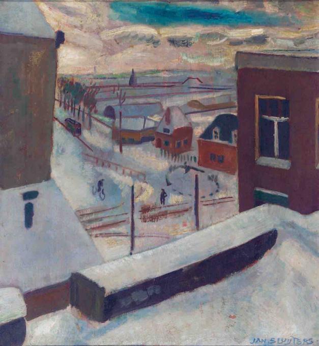 View on the Amstelveenscheweg during winter by Jan Sluijters