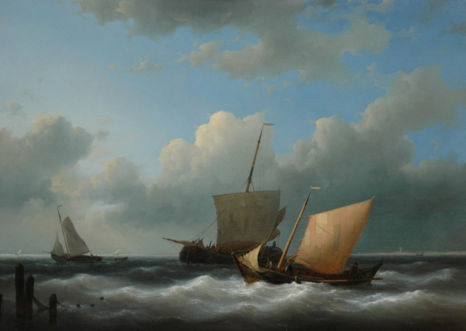 Sailing boats entering a harbour by Abraham Hulk