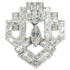 Stunning Art Deco diamond clip brooch by Unknown Artist