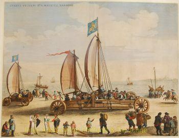 Blaeu,  De zeilwagen van prins Maurits  landjacht by Blaeu, Joan