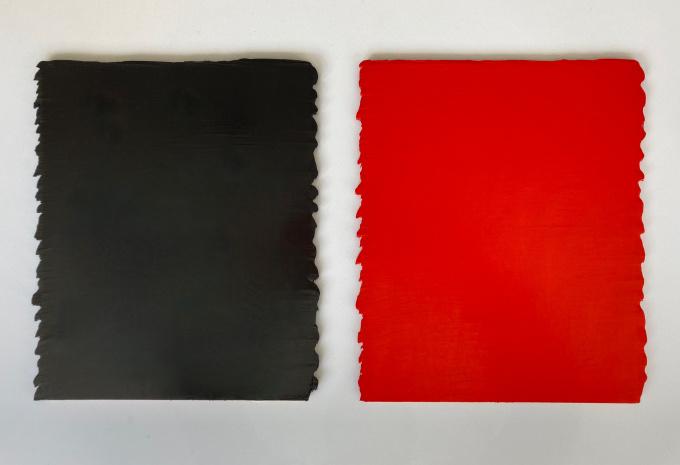 Cache-cache no.6, noir partie 1/2, rouge partie 2/2 by Bernard Aubertin