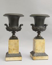 Bronze Medici vases on marble bases, France by Unknown Artist