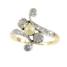 Belle Epoque diamond and pearl cross over ring by Unknown Artist