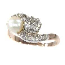 Victorian diamond and pearl engagement ring so-called romantic Toi et Moi by Unknown