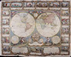 World map, wall map by  Gobert Denis Chambon/ Jean Janvier, S.G. Longschamps