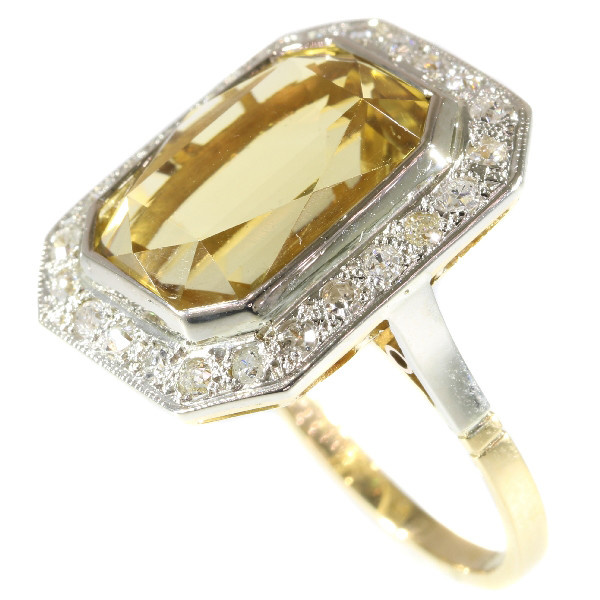 Vintage warm yellow citrine and diamond ring from the fifties. by Unknown Artist