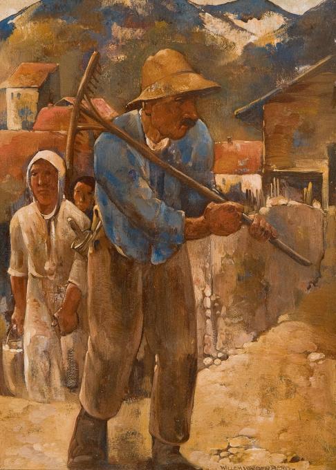 Peasants in Scharans by Willem van den Berg