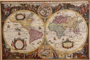 World map  by  Melchior Tavernier after Jodocus Hondius