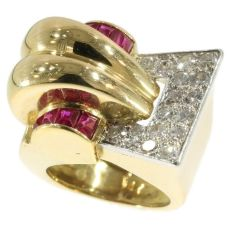 Very strong design handmade Retro ring with diamonds and rubies from the forties by Unknown
