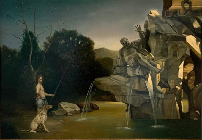 Pescatore sul Gange - Oil on Canvas - In Stock by Giovanni Tommasi Ferroni