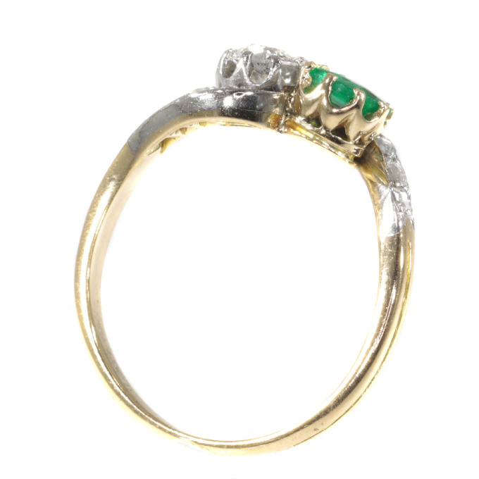 Antique Victorian style Romantic diamond and emerald toi et moi ring by Unknown Artist