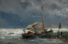 Fishing boat and steamer in a storm by Hermanus Koekkoek