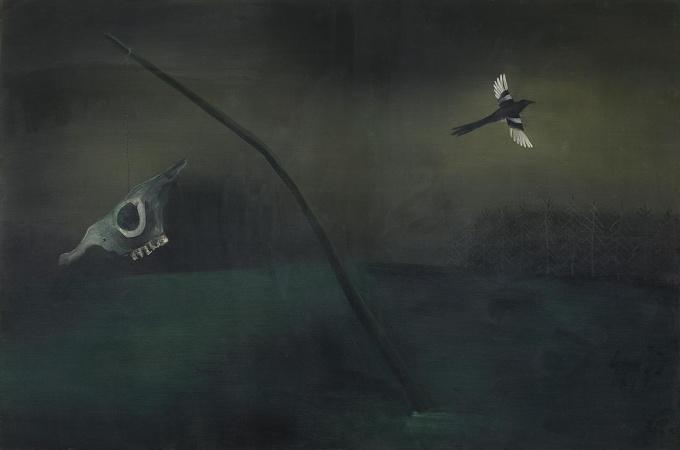 Schedel met ekster by Tinus van Doorn