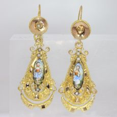 Gold Biedermeier earrings long pendant Victorian earrings with enamel by Unknown