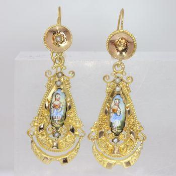 Gold Biedermeier earrings long pendant Victorian earrings with enamel by Unknown Artist