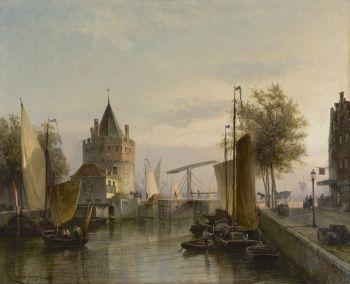 A view of the Schreierstoren, Amsterdam by Cornelis Christiaan Dommelshuizen